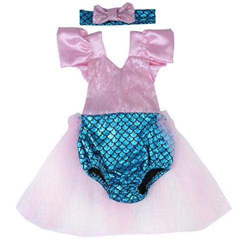 [Baby Girls Mermaid Sequins Bodysuit Romper Jumpsuit Sunsuit Outfit Tulle Lace Skirt (90, Pink)] (Little Mermaid Tutu Dress)