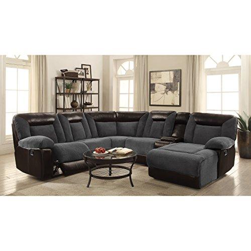 Coaster Home Furnishings 600090 Sectional Sofa, Grey/Dark Brown/Black