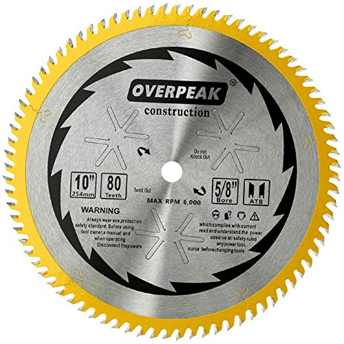 (Overpeak 10 Inch Carbide Tip Saw Blade ATB Ultra Fine General Purpose for Wood Cutting 80 Tooth with 5/8