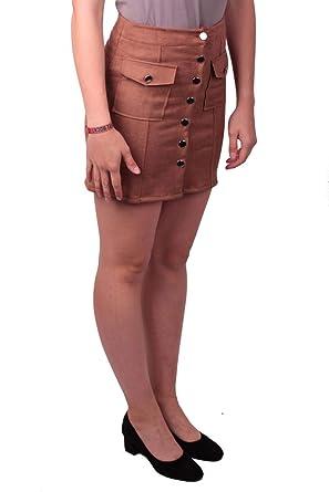 Hailys Mara - Mini Falda con Tira de Botones, Color marrón marrón ...