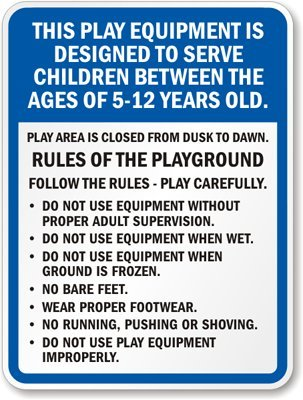 amazon com playground rules sign heavy duty aluminum sign 80 mil