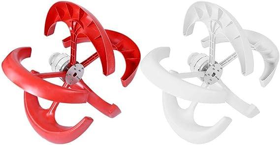 Wind Turbine Generatore Eolico A Turbine per Uso Domestico e Industriale Verticale a 5 vani con Controller No Pole Blanco GOTOTO 12V Generatore Eolico 600W Impianto eolic
