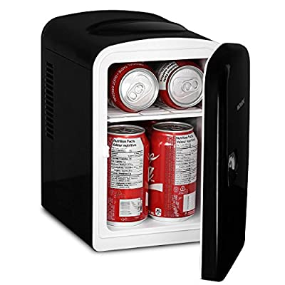 Magnasonic Portable 6 Can Mini Fridge Cooler & Warmer, 4L Capacity, Fully Insulated, Thermoelectric, 110V & 12V AC/DC Power for Home, Office, Car, RV, & Boat (MF41)