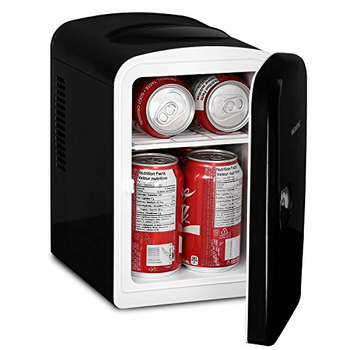 Magnasonic Portable 6 Can Mini Fridge Cooler & Warmer, 4L Capacity, Fully Insulated, Thermoelectric, 110V & 12V AC/DC Power for Home, Office, Car, RV, Boat (MF41) by Magnasonic