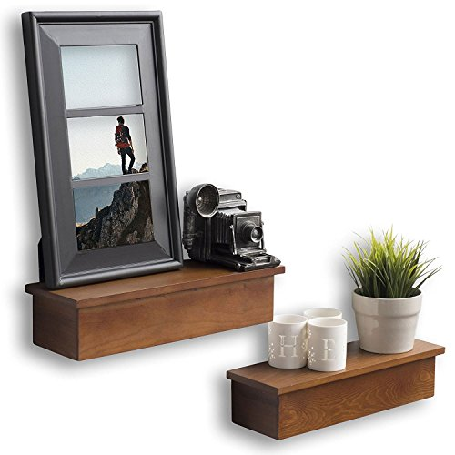 Wallniture Wall Shelves for Picture Frames Wooden Living Room Decoration Chestnut Set of - Metal Wall Chestnut