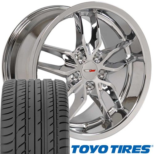 18x10.5/17x9.5 Wheels Fit Chevy Camaro Deep Dish Stingray Style Chrome Rims - SET (Rays Rims)