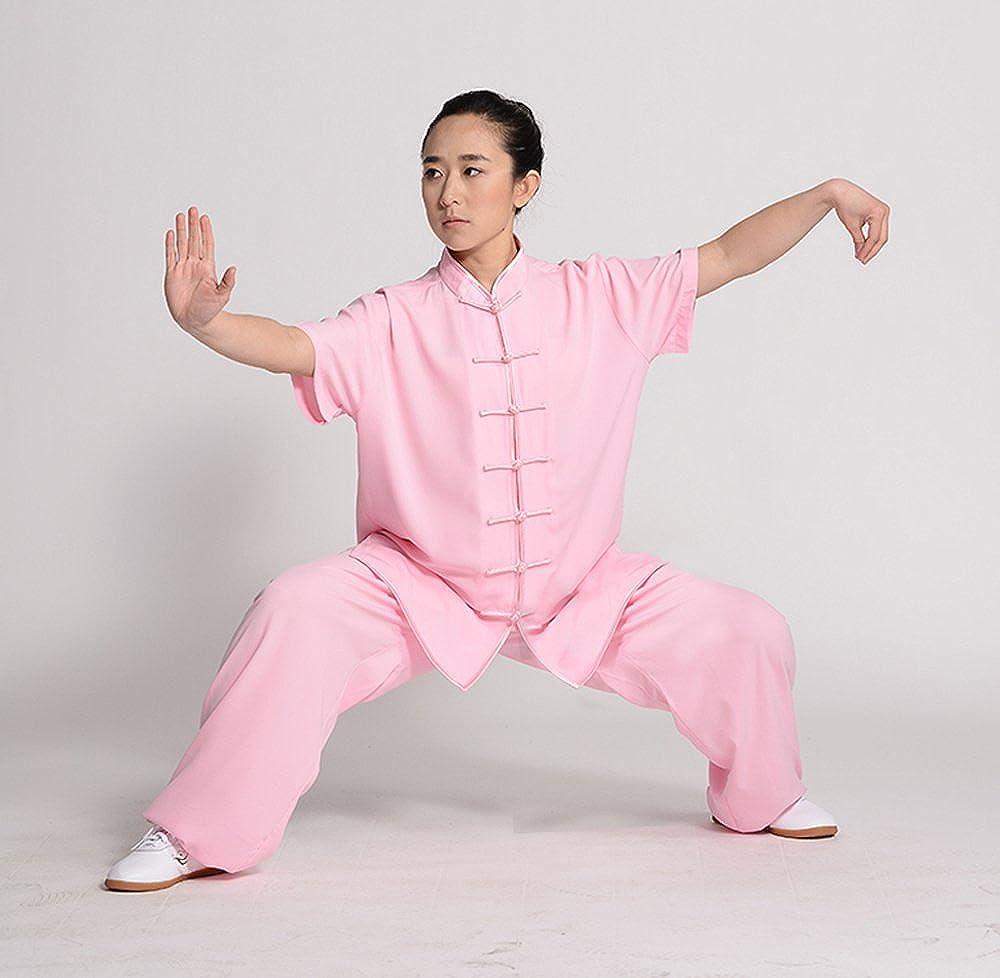 ZooBoo Unisex Short Sleeve Taichi Uniform Summer Kungfu Clothing Cotton Blend Martial Art Sets