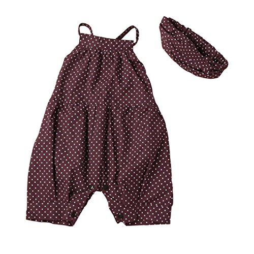 FEITONG Toddler Kid Baby Girls Dots Romper+Headband Clothes Outfit 2PCS Set