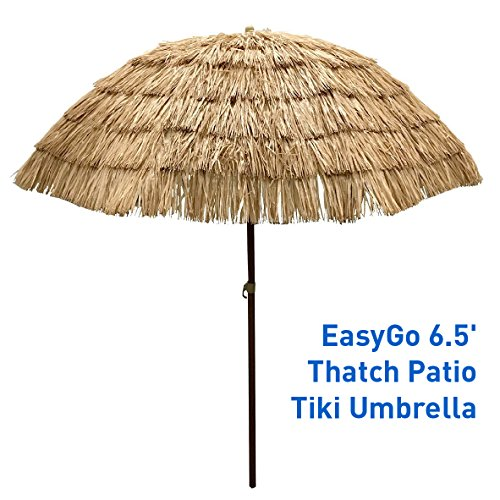 EasyGo - 6.5' Thatch Patio Tiki Umbrella - Tropical Palapa Raffia Tiki Hut Hawaiian Hula Beach Umbrella -