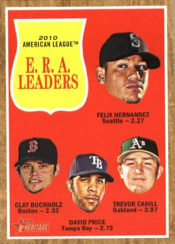 2011 Topps Heritage Baseball Card #55 Felix Hernandez / Clay Buchholz / David Price / Trevor Cahill - American League (ERA Leaders) MLB Trading ()