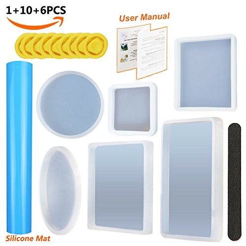 6 Pack Resin Casting Molds with Manual, JOFAMY Silicone Resin Jewelry Molds Big Size Including Round,Square,Rectangle,Ellipse Shaped Coaster Mold, with 1 Pcs A4 Silicone Sheet & 10 Pcs fingerstall by Resin