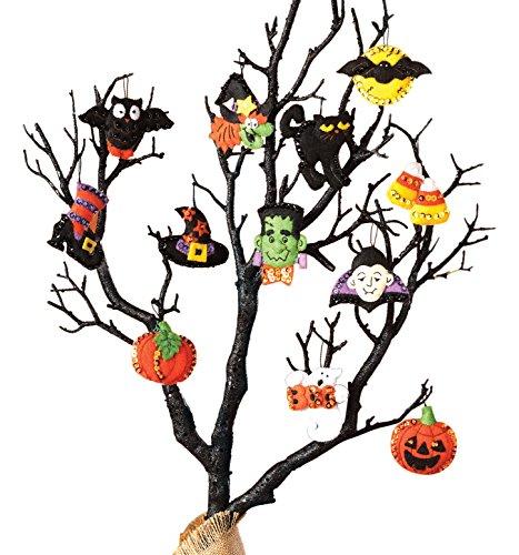 Bucilla Halloween Felt Applique Ornaments Kit (Size 2 2.5-Inch), 86430 Set of 12