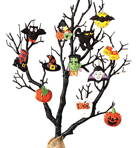 Bucilla Halloween Felt Applique Ornaments Kit (Size 2 2.5-Inch), 86430 Set of 12 ()