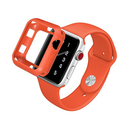 Marjorie Stevenson Silicone Bumper Case Compatible for Apple Watch,Protective Bumper Cover Compatible for Apple iWatch Series 3, Series 2, Series 1,Sports & Edition (Orange(Band+Case), 38mm M/L)