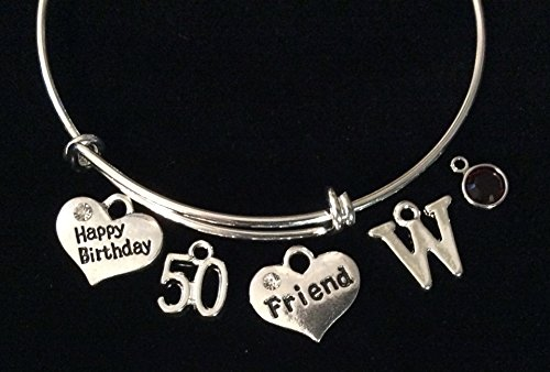 Happy Birthday Friend Silver Expandable Charm Bracelet Adjustable Wire Bangle 50th 50 Birthstone and Initial