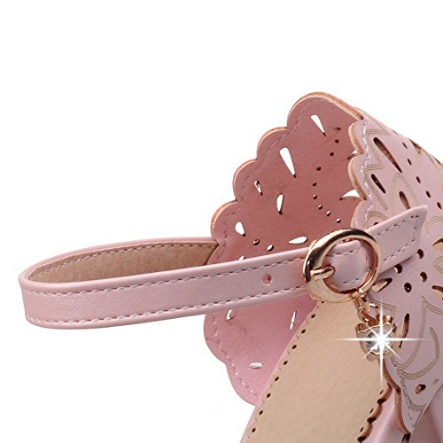 AllhqFashion Womens PU Kitten-Heels Round Closed Toe Solid Buckle Sandals Pink FFvrywV