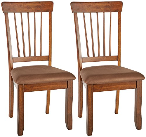 Hickory Dining Room Furniture - Ashley Furniture Signature Design - Berringer Dining Side Chair - Spindle Back - Set of 2 - Hickory Stain Finish