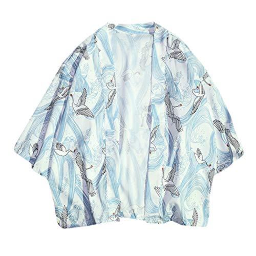 Men's Summer Luxurious Kimono Soft Satin Robe with Shorts Nightgown Long-Sleeve Pajamas Printed Bathrobes ()