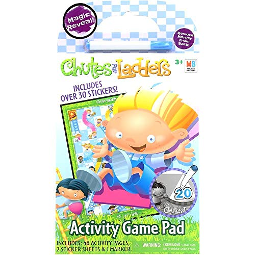 Hasbro Game Stickers - Chutes and Ladders Game Activity Pad Magic Reveal Game Mazes Stickers + More