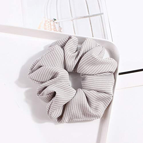 Elastic Scrunchie Ponytail Holder Hair Rope Ties Net Plaid Hair Ring Accessories (Color - light grey)