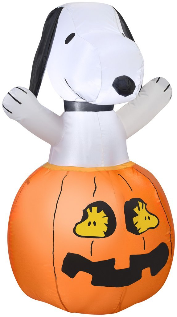 Tamie's Tees And Things Halloween Snoopy Pumpkin Woodstock Lights up Self-inflates 3' Inflatable Yard Decor