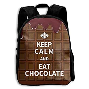 LDPQ5 Keep Clam And Eat Chocolate Backpack Kids School Book Bag For Boys Girls Womens