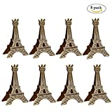 #3: Wangyue Vintage Eiffel Tower Card Holder Clips Table Number Holder, 8Pcs
