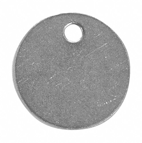 Steel Blank Tag, Stainless Steel, Round, 1'' Height, 10 PK
