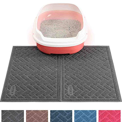 UPSKY Double Large Cat Litter Mat (24'' x 16'' x 2 Pieces), Premium Traps Litter from Box and Paws, Scatter Control for Litter Box, Soft on Sensitive Kitty Paws, Easy to Clean, Durable - Set of 2 - Litter Catcher Mat