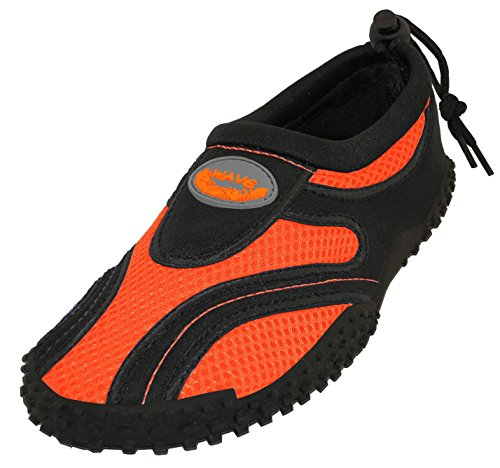 Women's Easy USA Wave Water Shoes Pool Beach Aqua Socks, Yoga , Exercise , Dance (7, Black/Orange 1185L)
