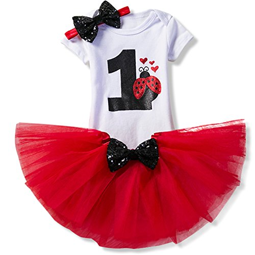 NNJXD Girl Red Heart Tutu 1st Birthday 3 Pcs Outfits Romper+Dress+ Black Headband Size (1) 1 Year Red