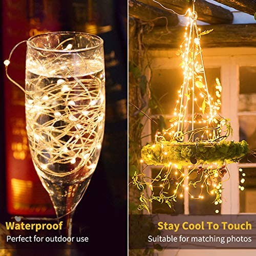 Minetom Fairy Lights Plug in, 100Ft 300LED Waterproof Firefly Lights on Copper Wire – UL Adaptor Included, Starry String Lights for Wedding Indoor Outdoor Christmas Patio Garden Decoration, Warm White