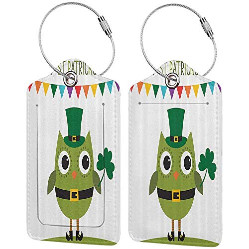Multi-patterned luggage tag St. Patricks Day Owl