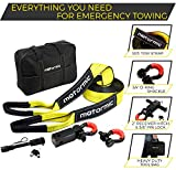 "Complete Set Tow Strap Recovery Kit - 3"" X 30' (30.000 lbs. Capacity) Emergency Rope + 2"" Hitch Receiver with PIN + 3/4 D-ring Shackles (2 pcs) + Storage Bag - Off Road Heavy Duty Winch Equipment …"