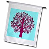 3dRose RinaPiro Patterns - Abstract. Tree. Turquoise and burgundy. - 18 x 27 inch Garden Flag (fl_268765_2)