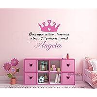 Princess Once Upon Personalized Name Wall Decal - Custom Girls Name Princess Crown Monogram Sticker Sign Baby Nursery Room Wall Decor