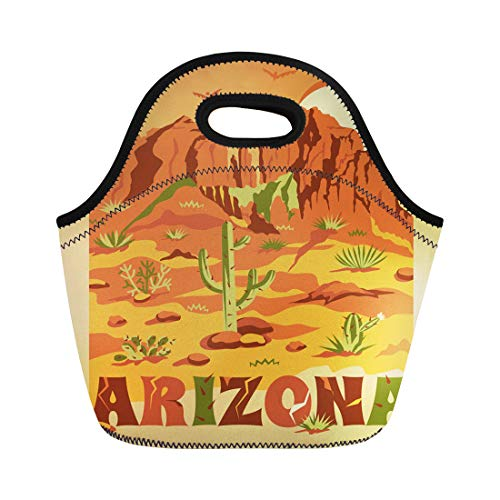Semtomn Lunch Bags Brown Grand Canyon Landscape Mountains Rocks Stones Cactuses Neoprene Lunch Bag Lunchbox Tote Bag Portable Picnic Bag Cooler - Canyon Stone Grand
