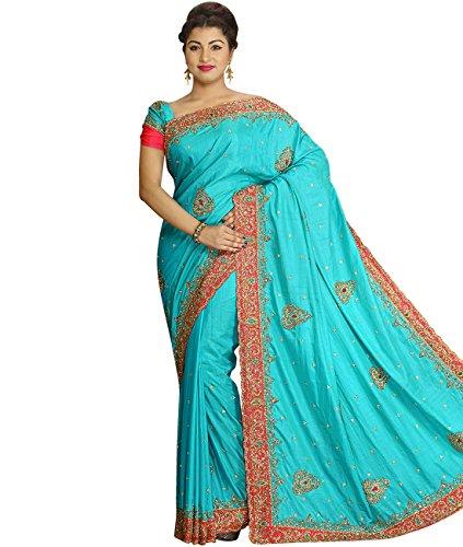 Sea Green Georgette Top (Indian Ethnic Art Silk Sea Green Bridal and Wedding Saree)