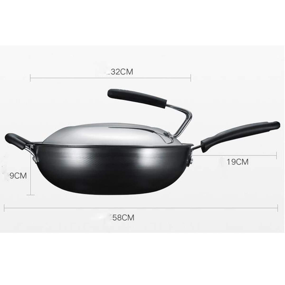 Wok, 32cm Diameter Wok, Really Stainless Uncoated Detachable Lid And Non-standing Lid Healthy Iron Pan, Black (Color : Black-A, Size : A1-32CM) by TONGBOSHI (Image #1)
