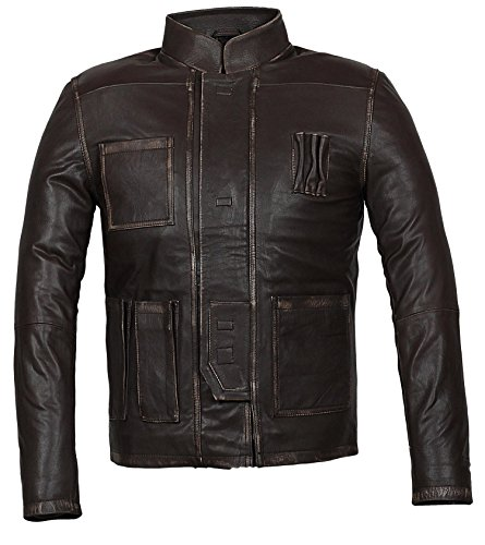 Star Wars Han Solo Jacket - Star Wars Brown Leather Jacket for Men (Han Solo Jacket, XL)