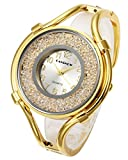 Top Plaza Women Ladies Casual Luxury Gold Silver Rose Gold Tone Alloy Analog Quartz Bracelet Watch Big Face Small Dial Rhinestones Decorated Elegant Dress Bangle Cuff Wristwatch