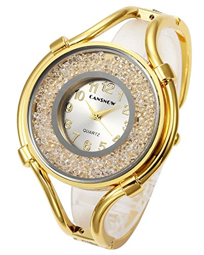 (Top Plaza Women Ladies Casual Luxury Gold Silver Rose Gold Tone Alloy Analog Quartz Bracelet Watch Big Face Small Dial Rhinestones Decorated Elegant Dress Bangle Cuff Wristwatch-Gold #1 )