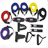 YNXing 15 Resistance Bands Set Exercise Workout Bands Kit Different Tension Levels 6 Tubes set with Handles, Hand buckle,Door Anchor, Ankle Straps and Carry Bag, Ideal for Home /Travel Fitness/Strengt