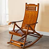 Bamboo Home Rocking Chair, Telescopic Massage Pedal Foldable Elderly Recliner Cushion 624-YY