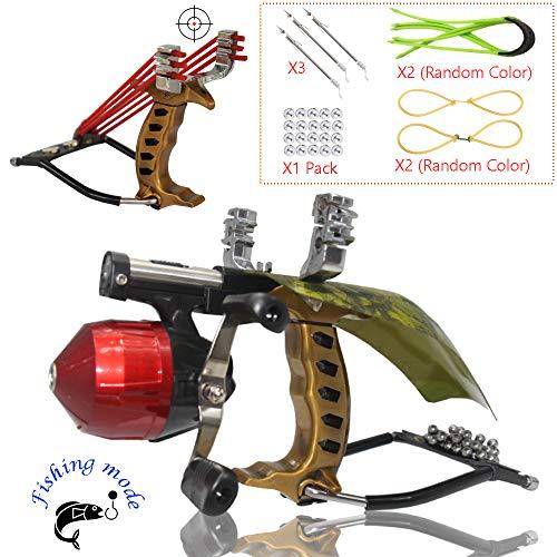 (Blue-Ra Outdoor Y Shot Slingshot Fishing Hunting Professional Slingshot High Velocity Catapult Kit with Infrared Sight&Fishing Reel Wrist Rocket Slingshots for Adult Kids(Black))