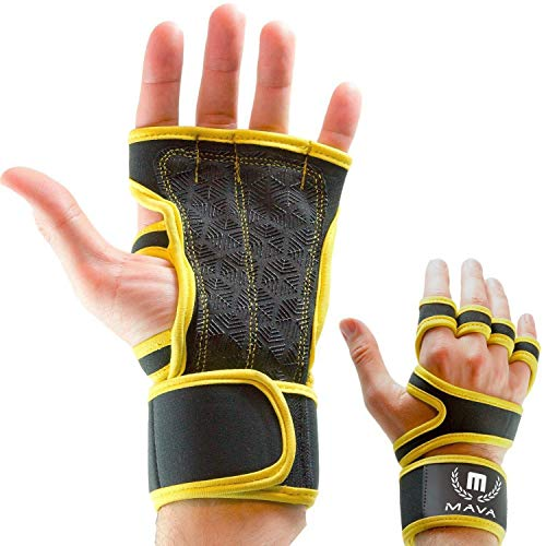 Mava Sports Cross Training Gloves with Wrist Support for Fitness, WOD, Weightlifting, Gym Workout & Powerlifting - Silicone Padding, no Calluses - Men & Women, Strong Grip (Bright Yellow, Medium)