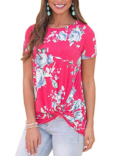 (Unidear Womens Short Sleeve Floral Print Knot Front Blouse Casual Tops T Shirt #4Rose Red XXL)