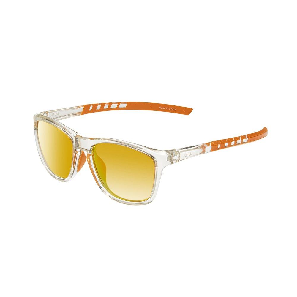 JOJE Polarized Sports Sunglasses for men women Baseball Running Cycling Fishing Golf Tr90 Superlight Frame J8001 (Transparent Frame Orange REVO Lens)