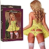 Buttercup Baby Doll & Cutout Panty Set Yellow Queen Size