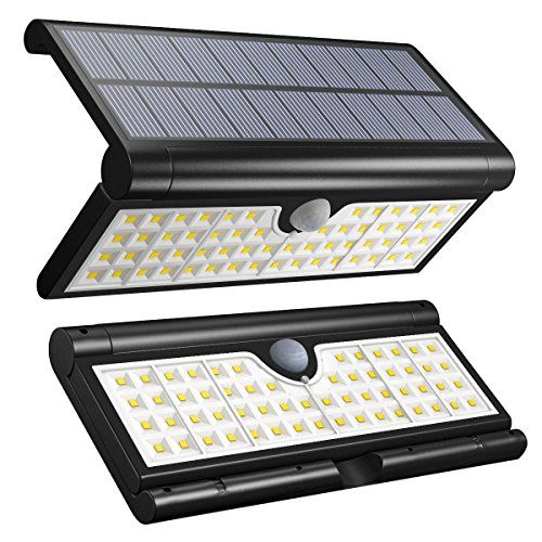 Vmanoo Solar Lights 58 LED Foldable Wireless Wall Light Outdoor Security Lighting Super Bright Camping Lights with Motion Sensor Detector for Garden, Fence, Deck, Patio, Yard, Camping, Driveway 2Pack